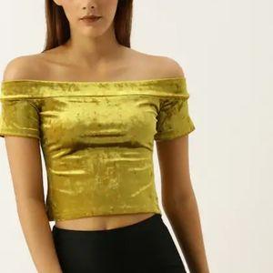 Forever 21 Yellow Crushed Velvet Off Shoulder Top